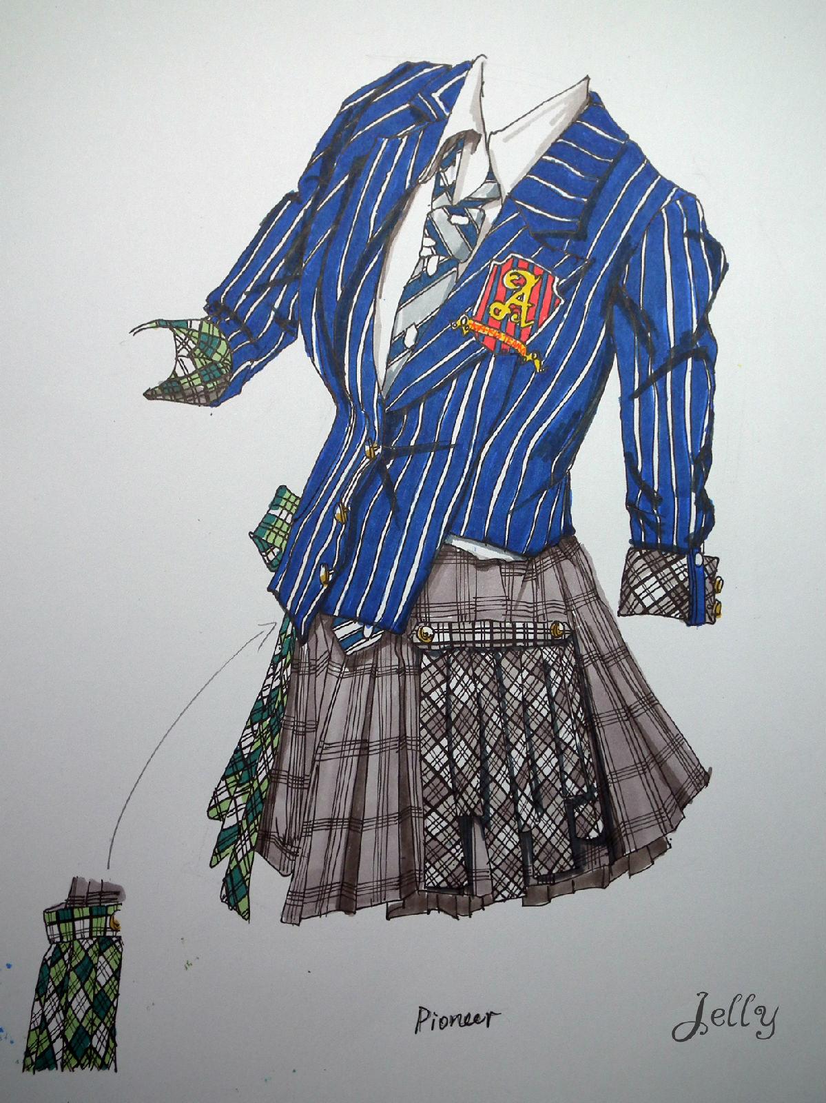 超强服装设计手绘图 akb48可爱的百变演出服装
